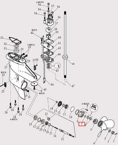 Подшипник 15*17*16.5 для лодочного мотора F9.8 Sea-PRO (12-7)