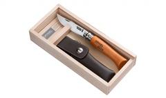 Нож складной Opinel №8 VRN Carbon Tradition в деревянном кейсе и с кожаным чехлом