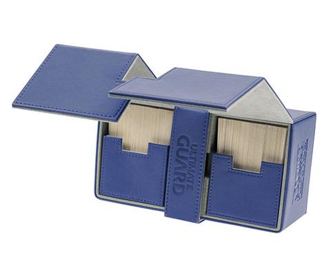 Ultimate Guard - Двойная кожаная синяя коробочка с отделением для кубиков на 200 карт