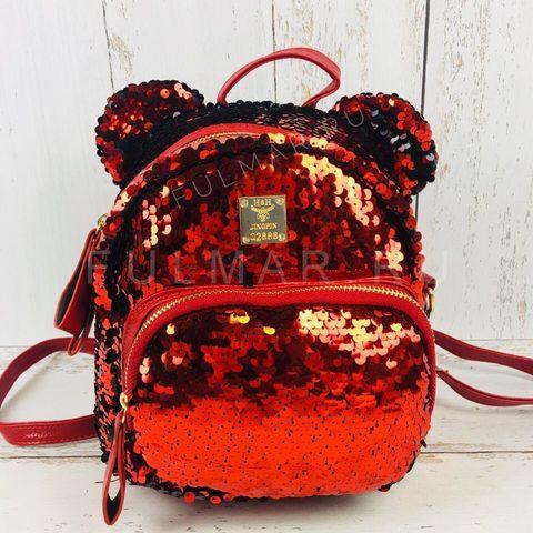 Рюкзак-Сумка с пайетками и ушами меняющий цвет Красный-Чёрный