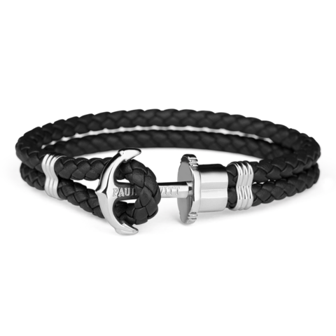 Leather Silver Bracelet Black