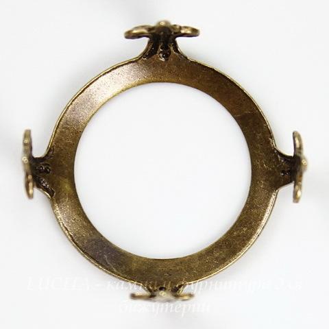 """Сеттинг - основа """"Черепашка"""" для камеи или кабошона 18 мм (оксид латуни)"""