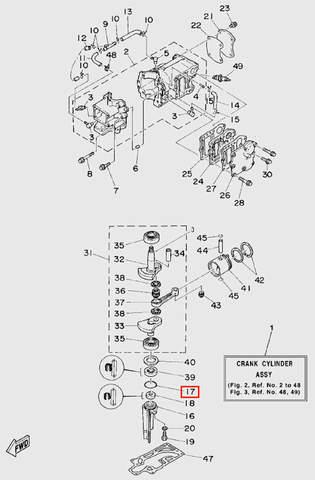 Кольцо стакана коленчатого вала  для лодочного мотора T5 Sea-PRO (2-17)