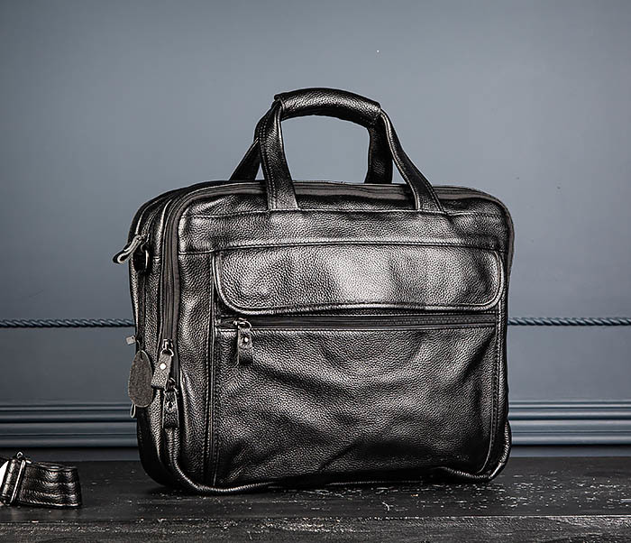 BAG490-1 Мужской портфель из натуральной кожи черного цвета