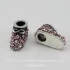 """Бусина металлическая для пандоры """"Ботинок"""" с розовыми стразами (цвет - античное серебро) 16х8 мм"""