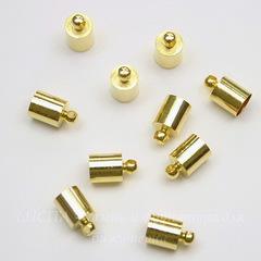 Концевик для шнура 5,5 мм, 10х6 мм (цвет - золото), 10 штук