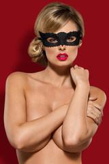 Эротическая маска на глаза черная ажурная