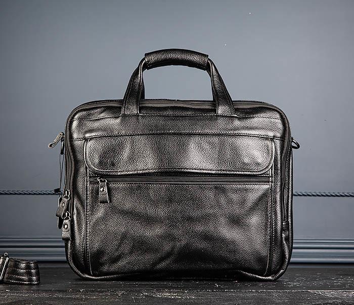 BAG490-1 Мужской портфель из натуральной кожи черного цвета фото 02