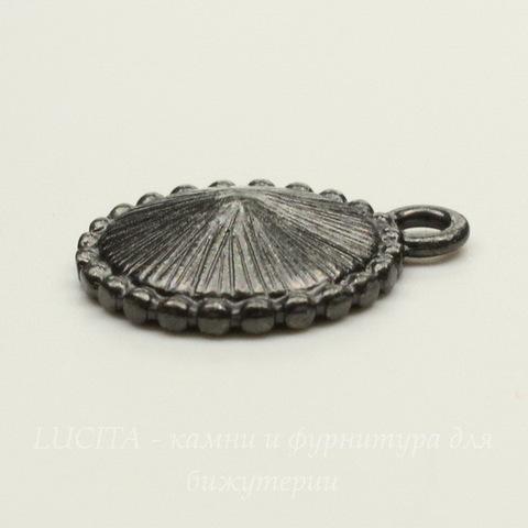 """Сеттинг - основа - подвеска TierraCast """"Узор"""" для страза 12 мм (цвет-черный никель)"""
