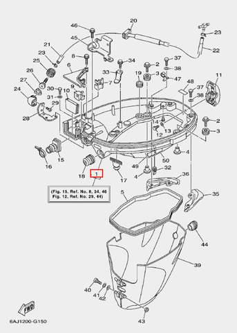 Поддон двигателя в сборе для лодочного мотора F20 Sea-PRO (15-1)