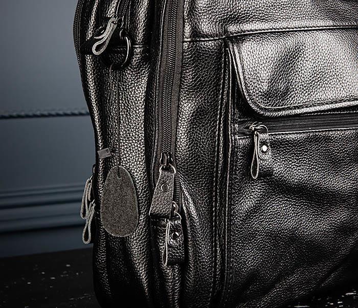 BAG490-1 Мужской портфель из натуральной кожи черного цвета фото 03