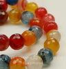 """Бусина Агат (тониров), шарик с огранкой, """"Оранжево-розово-синий микс"""", 10 мм, нить"""
