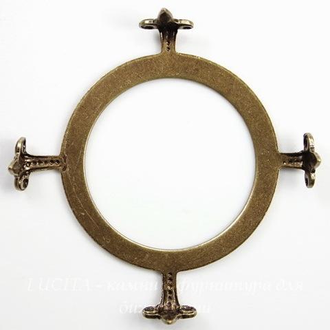 """Сеттинг - основа """"Черепашка"""" для камеи или кабошона 25 мм (оксид латуни)"""