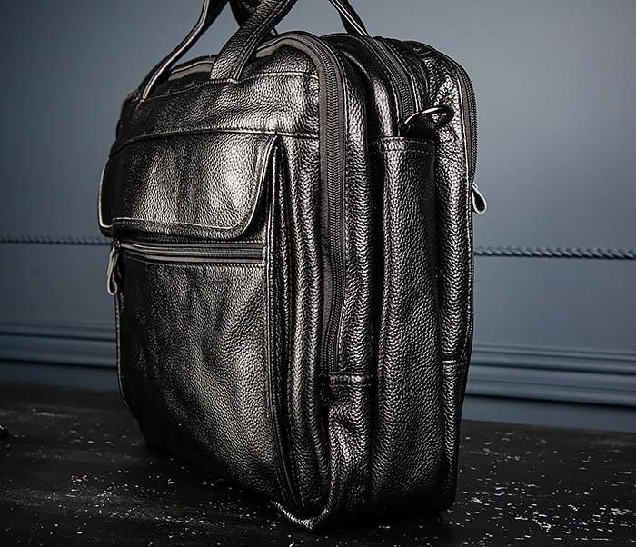BAG490-1 Мужской портфель из натуральной кожи черного цвета фото 04