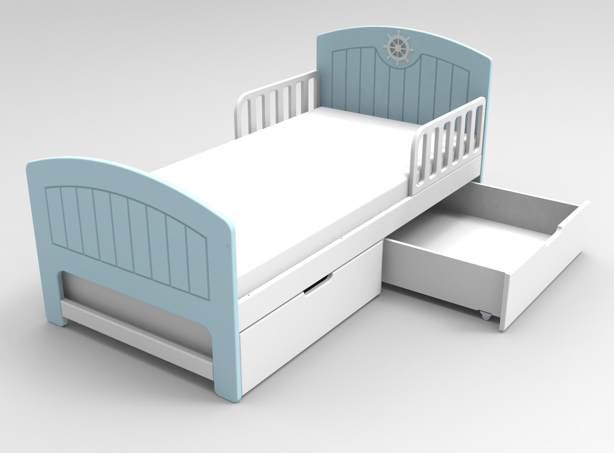 Кровать с ящиками Юнга Голубая