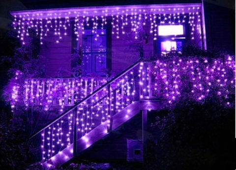 LED светодиодная гирлянда бахрома на силиконовом прозрачном проводе 5 на 0,7 м