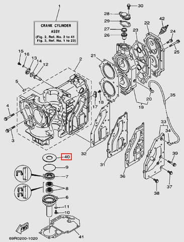 Кольцо коленвала нижнее для лодочного мотора Т30 Sea-PRO (2-40)