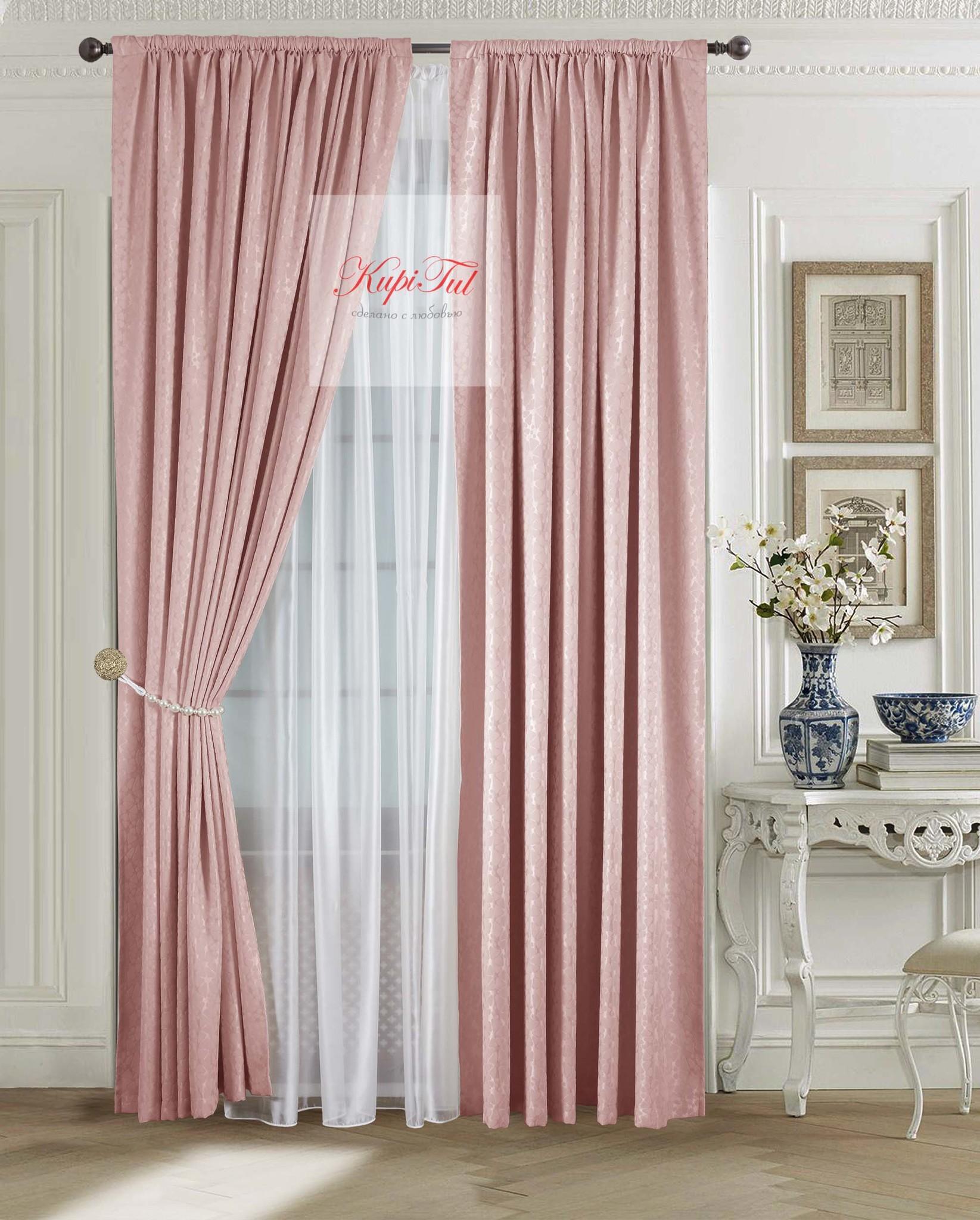 Комплект штор Лоран (светло-розовый). Шторы из стриженного бархата.