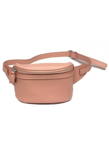 Пудровая поясная сумка из натуральной кожи