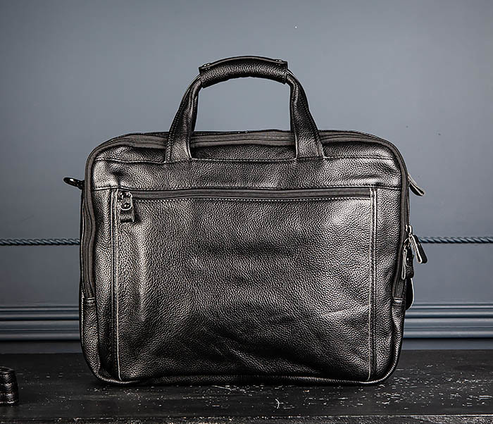 BAG490-1 Мужской портфель из натуральной кожи черного цвета фото 05