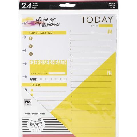 Внутренний блок для ежедневника 18х23,5 -Happy Planner Medium Fill Paper - 24л - Super Mom Foil