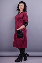 Анастасия. Стильное платье больших размеров. Бордо.