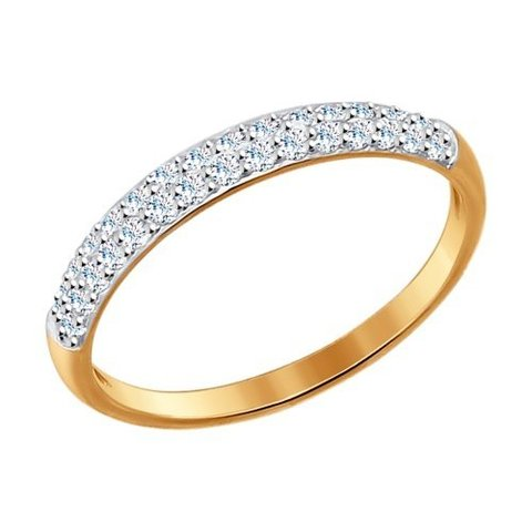 Тонкое кольцо из золота с фианитами арт. 017149 SOKOLOV