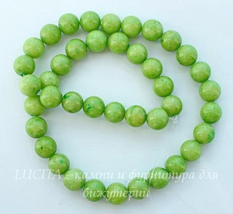 Бусина Жадеит, шарик, цвет - лаймовый, 10 мм, нить