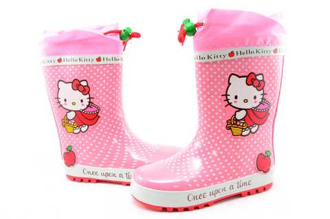 Резиновые сапоги для девочек утепленные Хелло Китти (Hello Kitty), цвет розовый. Изображение 7 из 11.