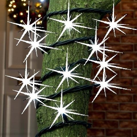 Гирлянда с соединением между собой нить на деревья 10 метров с мерцанием каучук провод