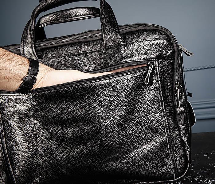 BAG490-1 Мужской портфель из натуральной кожи черного цвета фото 08
