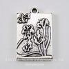 """Подвеска прямоугольная """"Цветы"""" (цвет - античное серебро) 24х16 мм"""