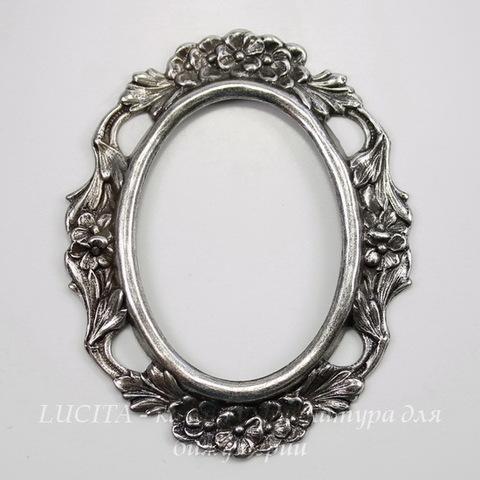 Винтажный декоративный элемент - рамка 60х47 мм (оксид серебра)