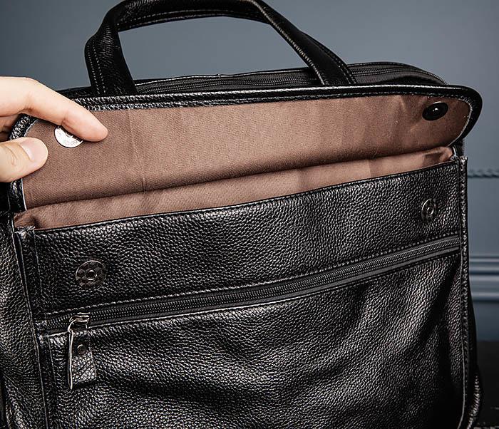 BAG490-1 Мужской портфель из натуральной кожи черного цвета фото 09
