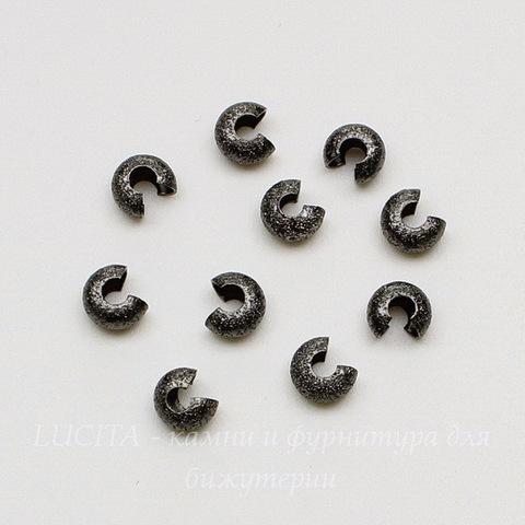 """Бусина для маскировки кримпа """"Сахарная"""" 4 мм (цвет - черный никель), 10 штук"""