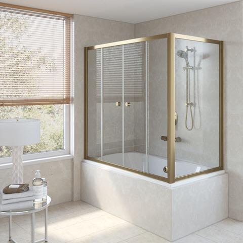 Шторка на ванну Vegas Glass Z2V+ZVF профиль бронза, стекло прозрачное