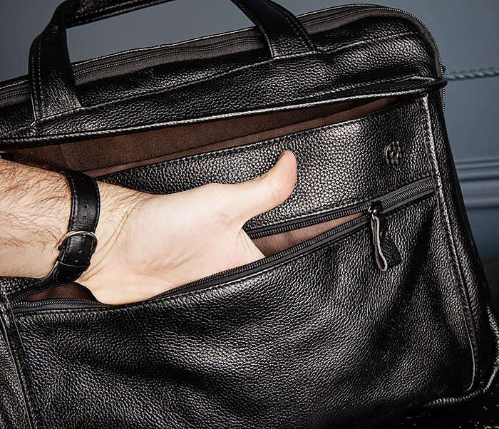 BAG490-1 Мужской портфель из натуральной кожи черного цвета фото 10