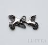 """Подвеска """"Влюбленные голуби"""" (цвет - античное серебро) 25х12 мм"""