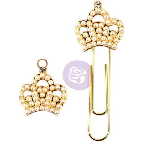 Брелоки для ежедневников Prima Traveler's Journal Decorative Clip & Charm Set-Pearl & Gold Crowns