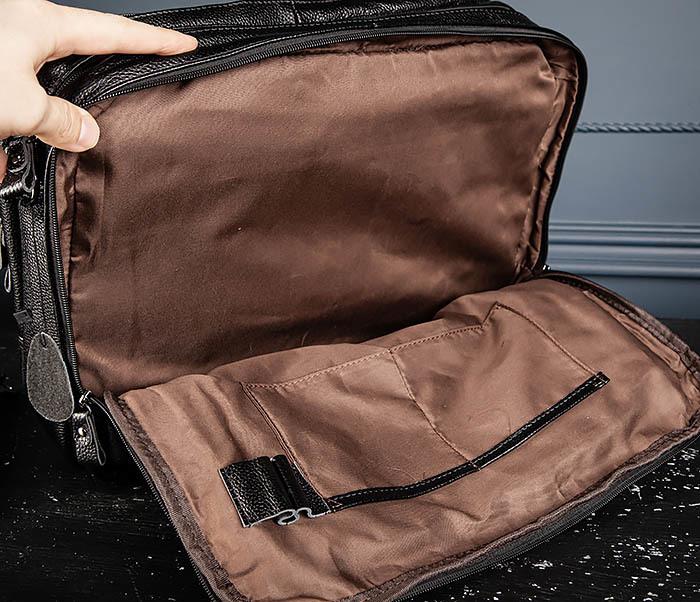 BAG490-1 Мужской портфель из натуральной кожи черного цвета фото 11