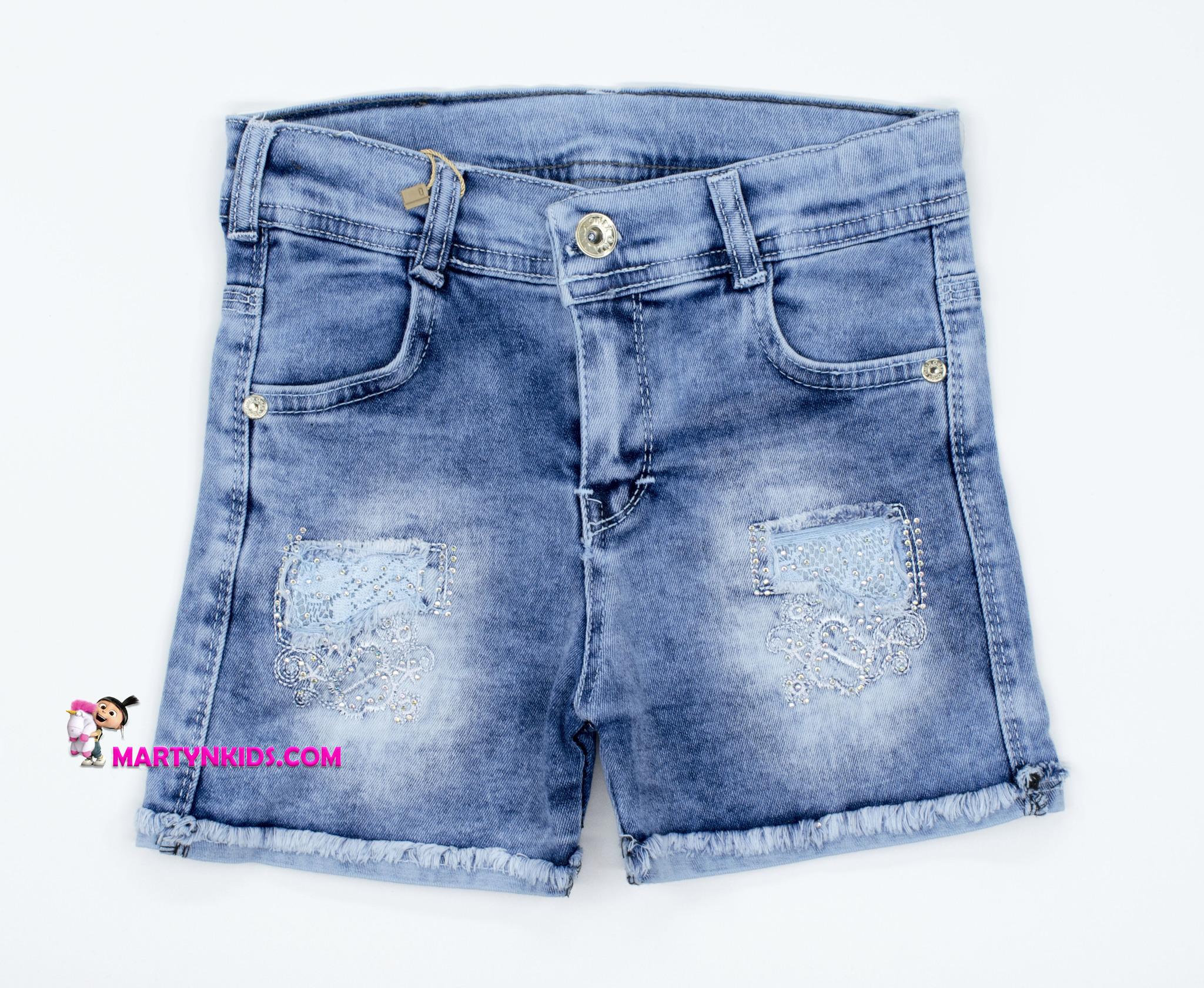 2509 шорты джинс серебряная нитка