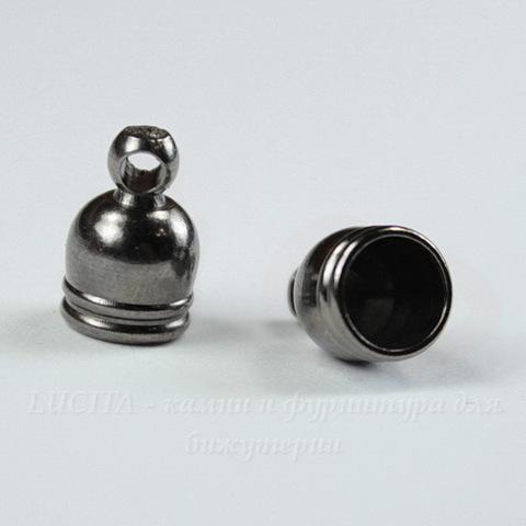 Концевик для шнура 5 мм, 9х6 мм (цвет - черный никель), 2 штуки