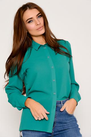 """Классическая рубашка, выполнена из креп-шифона. Ворот на стойке, длинный рукав на манжете. Рекомендуем в комплекте с жилетом """"Бланка"""". (Длина: 44-52 = 66см;)"""