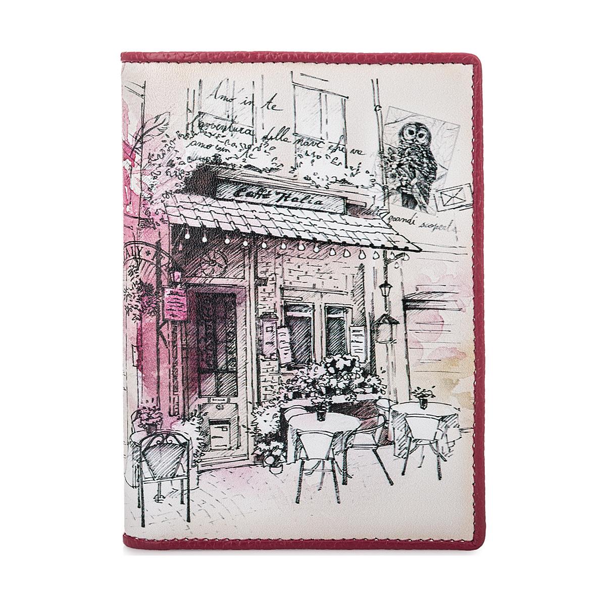 п141 FD кожа розовый /белый (обложка для паспорта)
