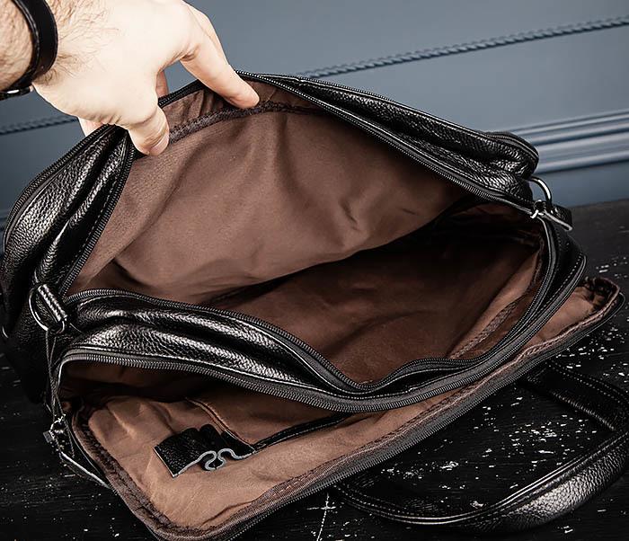 BAG490-1 Мужской портфель из натуральной кожи черного цвета фото 12