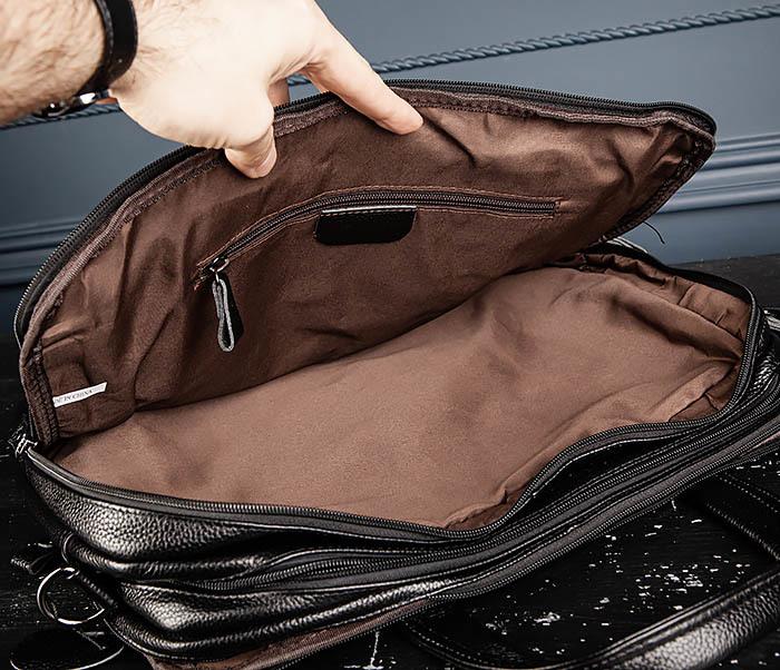 BAG490-1 Мужской портфель из натуральной кожи черного цвета фото 13