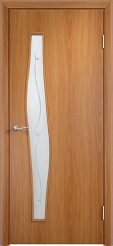 Дверь Сибирь Профиль Волна (с фьюзингом), стекло с фьюзингом, цвет миланский орех, остекленная