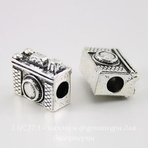 """Бусина металлическая для пандоры """"Фотоаппарат"""" (цвет - античное серебро) 18х14 мм"""