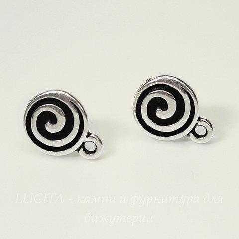 """Пуссеты - гвоздики TierraCast """"Спираль"""" 13х10 мм (цвет-античное серебро)(без заглушек), пара"""