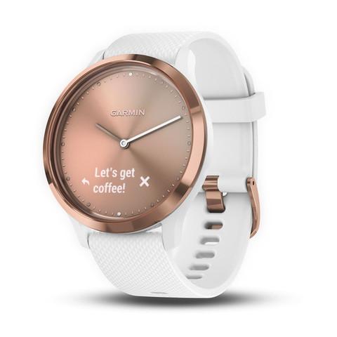 Купить Умные часы Garmin Vívomove HR Sport розовое золото с белым средним ремешком 010-01850-22 по доступной цене